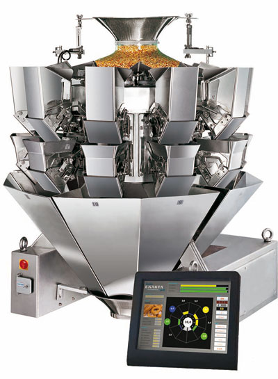 Multihead weigher machine for cans/ jars/ bags/ trays…